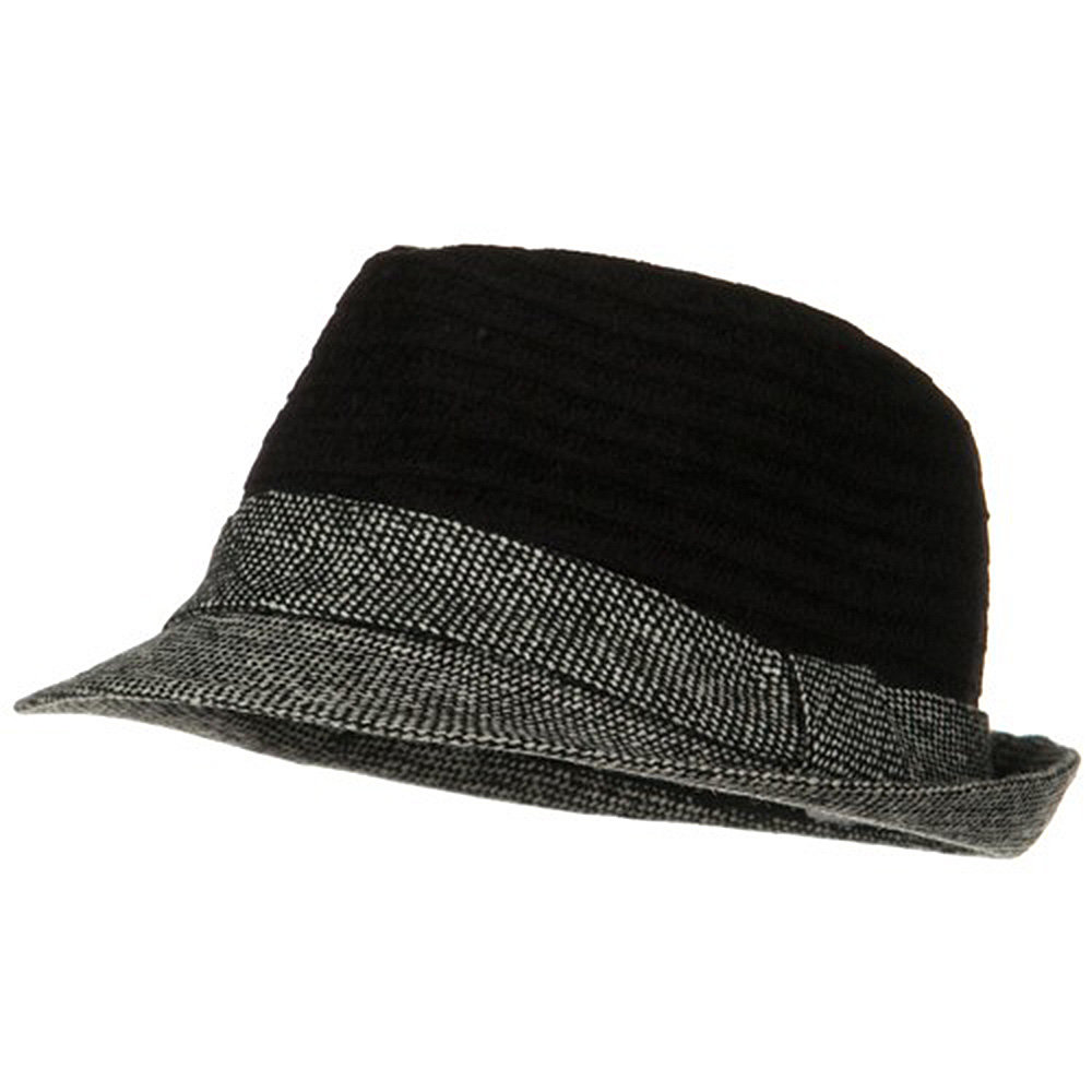Braided Two Tone Fedora - Black - Hats and Caps Online Shop - Hip Head Gear