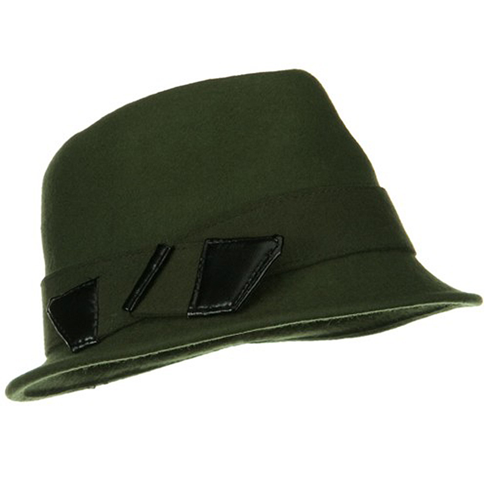 Leather Bow Wool Felt Fedora Hat - Olive - Hats and Caps Online Shop - Hip Head Gear