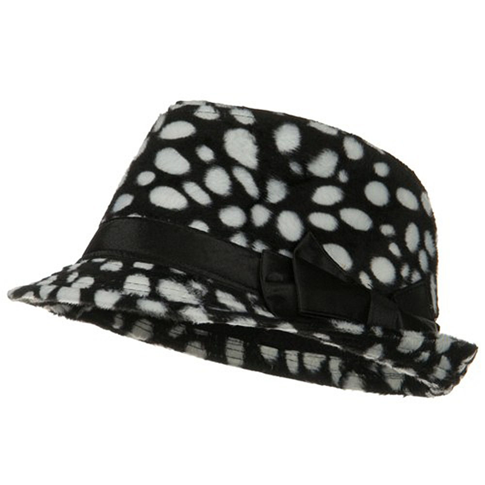 Dalmatian Fedora with Satin Bow - Black - Hats and Caps Online Shop - Hip Head Gear