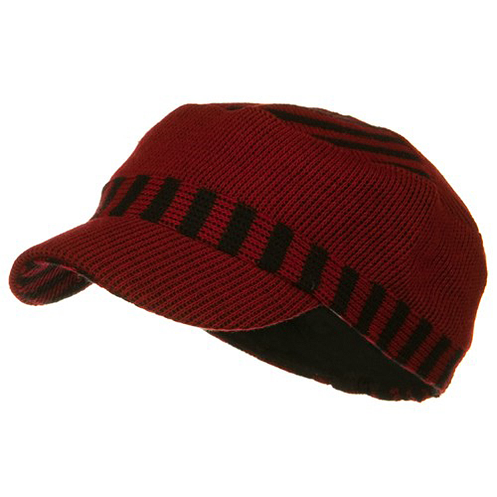Two Tone Military Knit Cap - Red - Hats and Caps Online Shop - Hip Head Gear