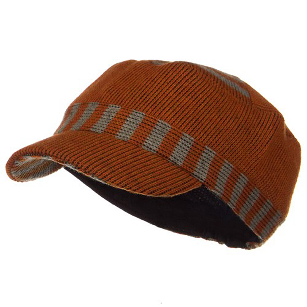 Two Tone Military Knit Cap - Orange - Hats and Caps Online Shop - Hip Head Gear