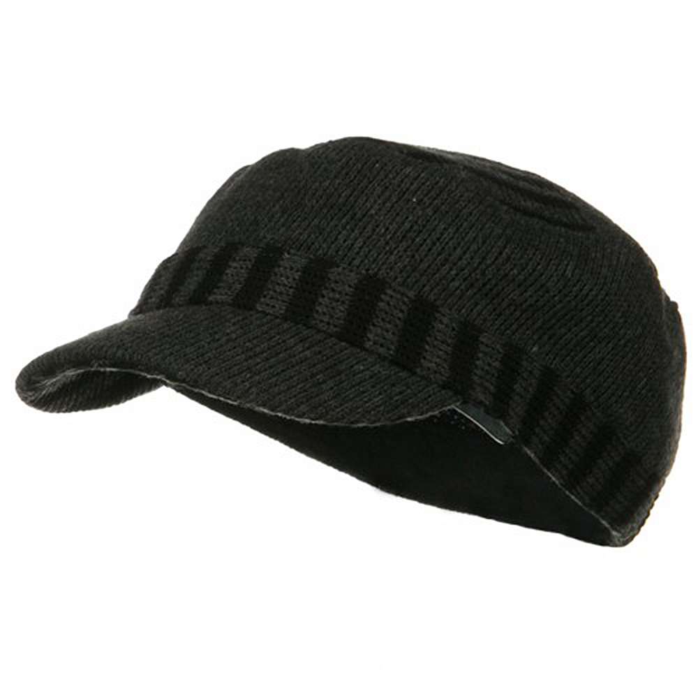 Two Tone Military Knit Cap - Grey - Hats and Caps Online Shop - Hip Head Gear