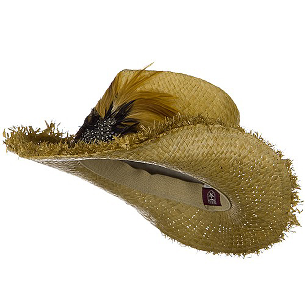 Outback Raffia Frayed Straw Hats-Feather - Hats and Caps Online Shop - Hip Head Gear