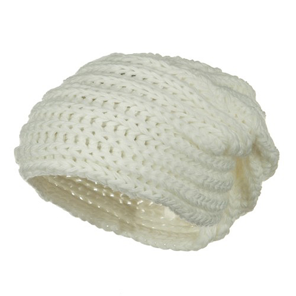 Women's Knit Wrap Beanie - White - Hats and Caps Online Shop - Hip Head Gear