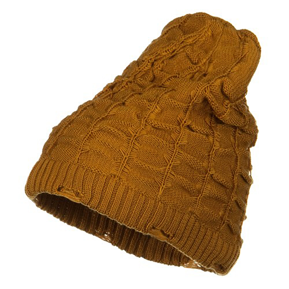 Wrinkled Knit Beanie - Amber - Hats and Caps Online Shop - Hip Head Gear