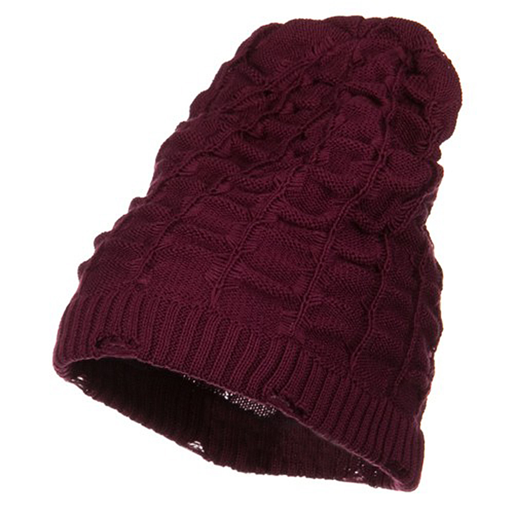 Wrinkled Knit Beanie - Burgundy - Hats and Caps Online Shop - Hip Head Gear