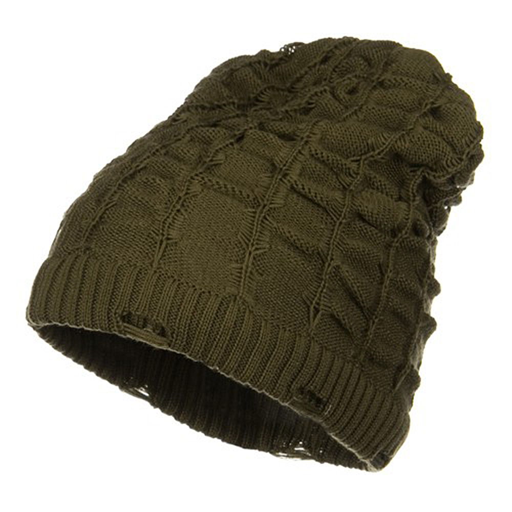 Wrinkled Knit Beanie - Taupe - Hats and Caps Online Shop - Hip Head Gear