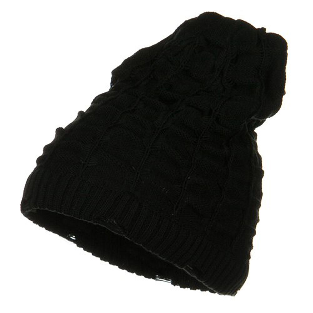 Wrinkled Knit Beanie - Black - Hats and Caps Online Shop - Hip Head Gear
