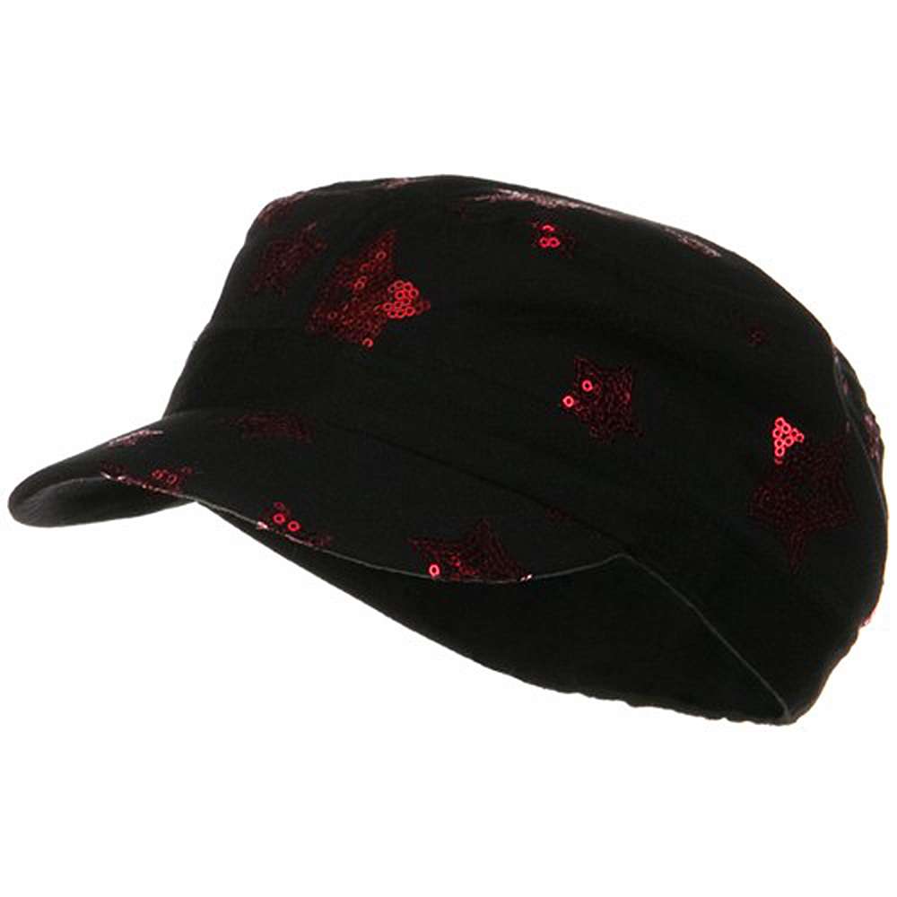 Star Sequin Military Cap - Black Red - Hats and Caps Online Shop - Hip Head Gear