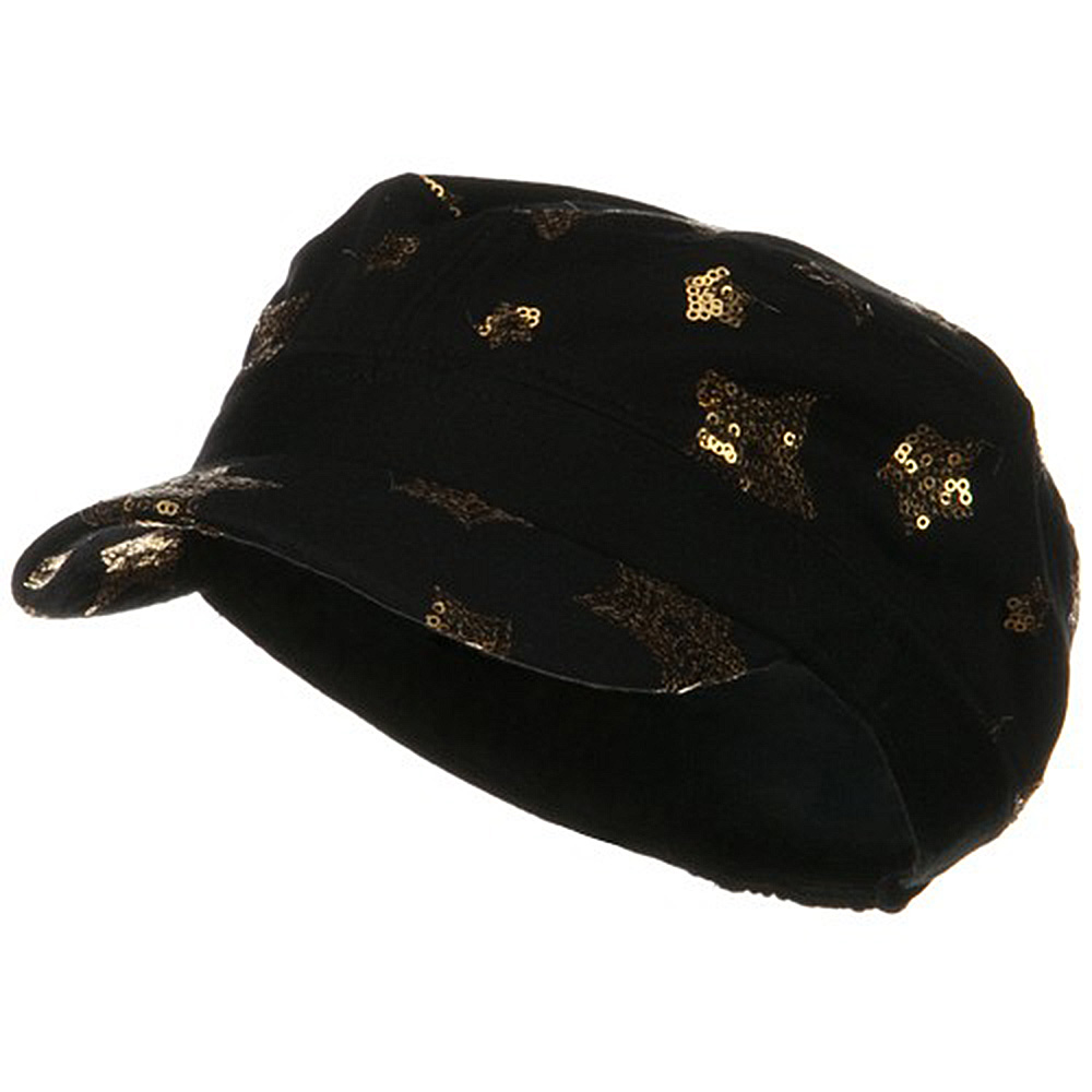 Star Sequin Military Cap - Black Gold - Hats and Caps Online Shop - Hip Head Gear
