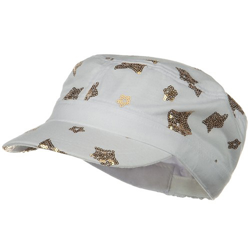 Star Sequin Military Cap - Off White Gold - Hats and Caps Online Shop - Hip Head Gear