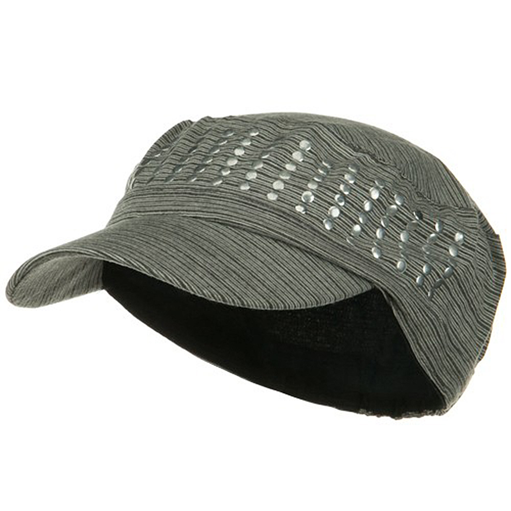 Studded Cotton Military Cap - Grey - Hats and Caps Online Shop - Hip Head Gear