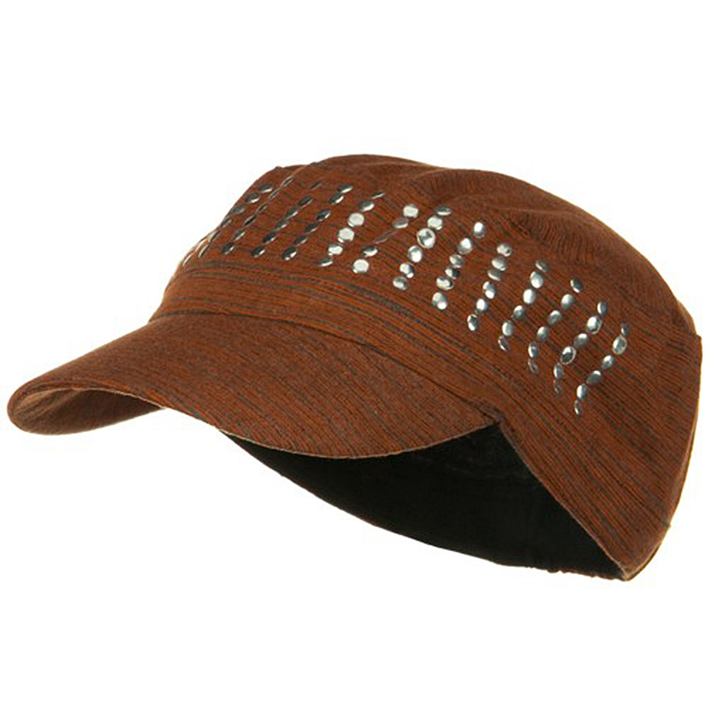 Studded Cotton Military Cap - Orange - Hats and Caps Online Shop - Hip Head Gear