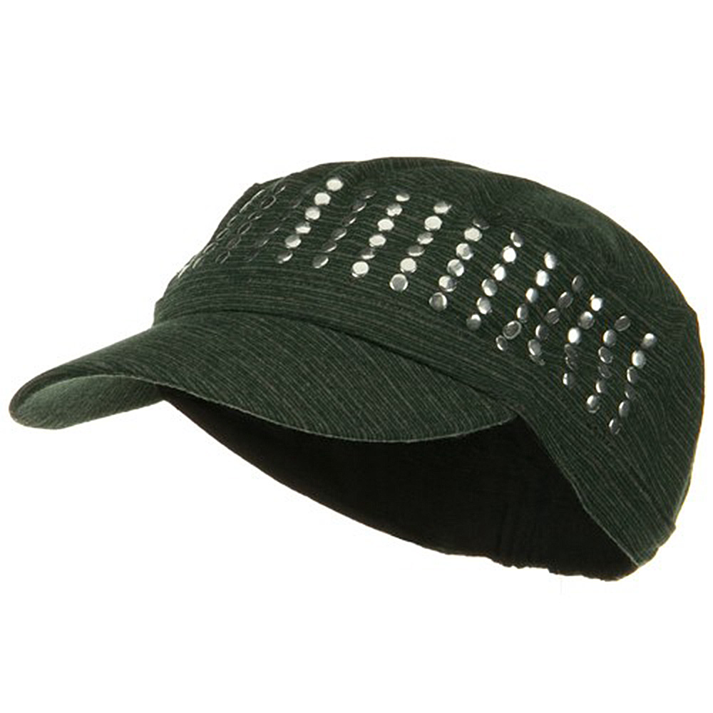 Studded Cotton Military Cap - Green - Hats and Caps Online Shop - Hip Head Gear