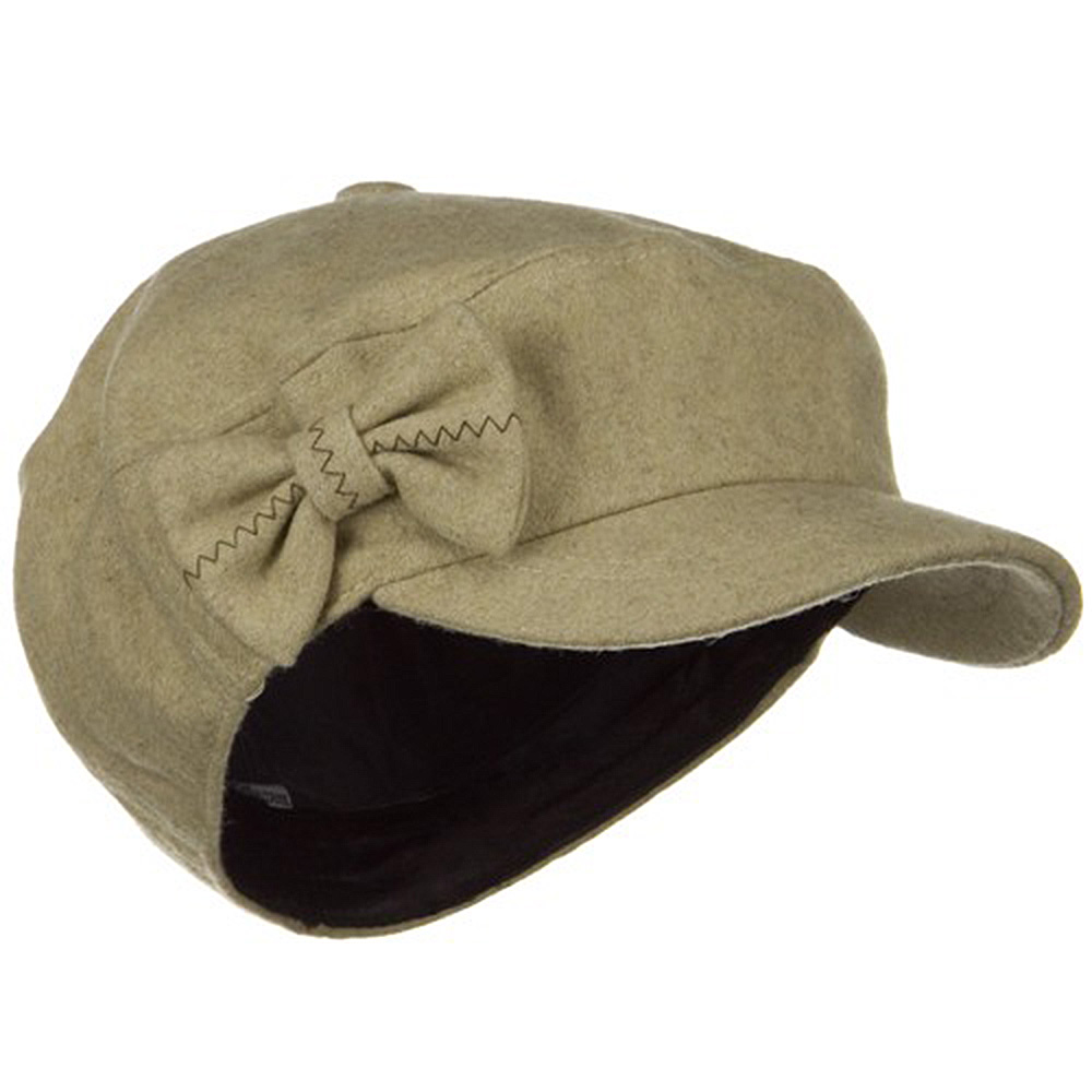 Bow 6 Panels Wool Newsboy Hat - Camel - Hats and Caps Online Shop - Hip Head Gear