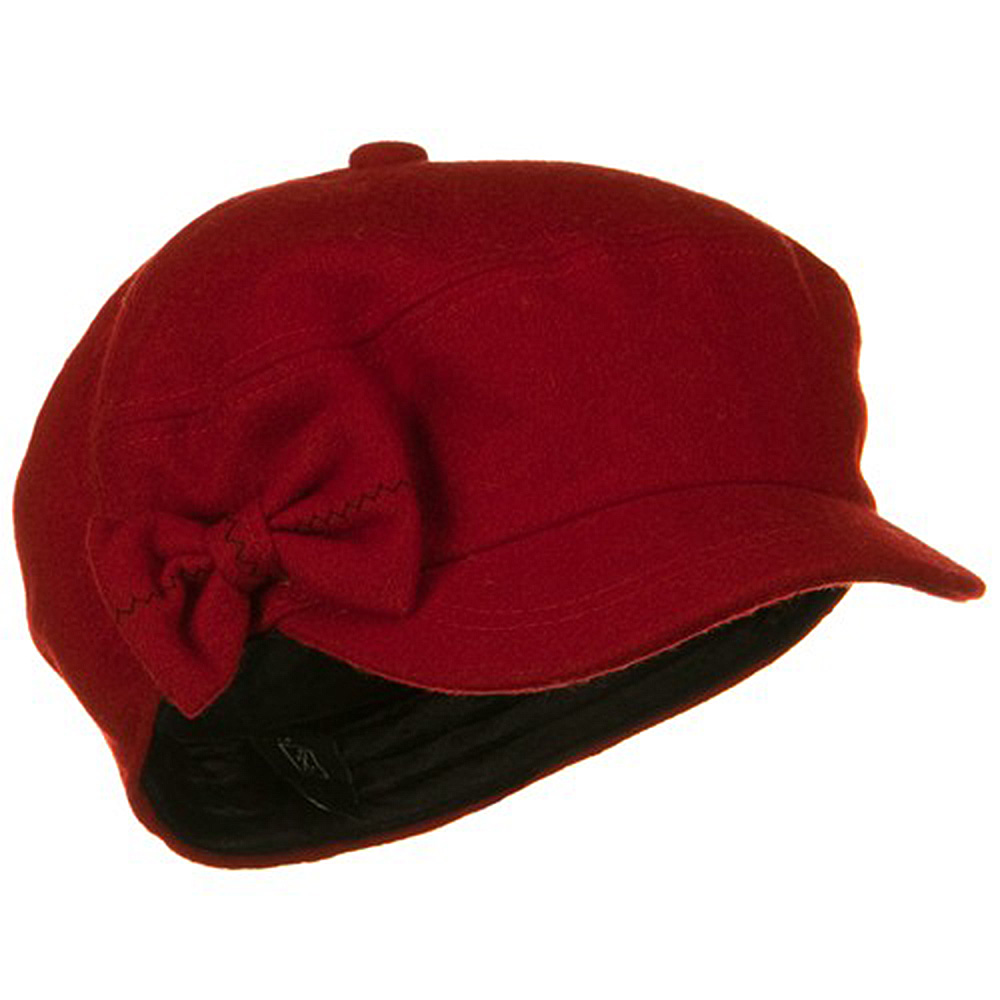 SS/Hat Bow 6 Panels Wool Newsboy Hat - Red W12S55D