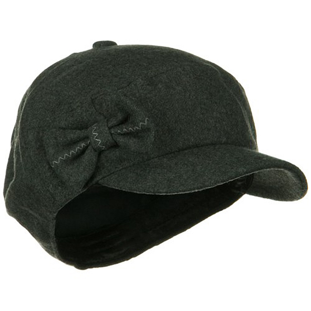 Bow 6 Panels Wool Newsboy Hat - Charcoal - Hats and Caps Online Shop - Hip Head Gear