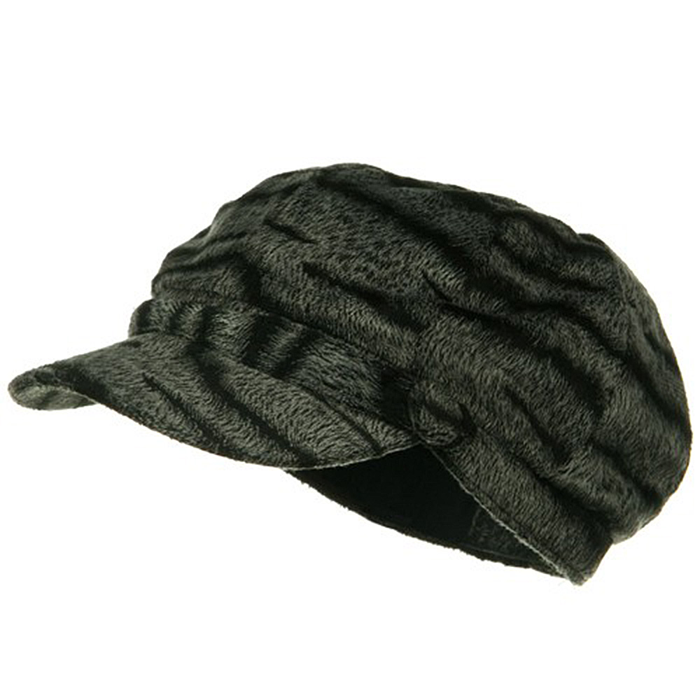 Animal Print Fur Newsboy Hat - Zebra - Hats and Caps Online Shop - Hip Head Gear