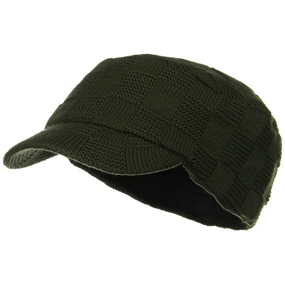 Checker Knitted Military Cap - Olive - Hats and Caps Online Shop - Hip Head Gear