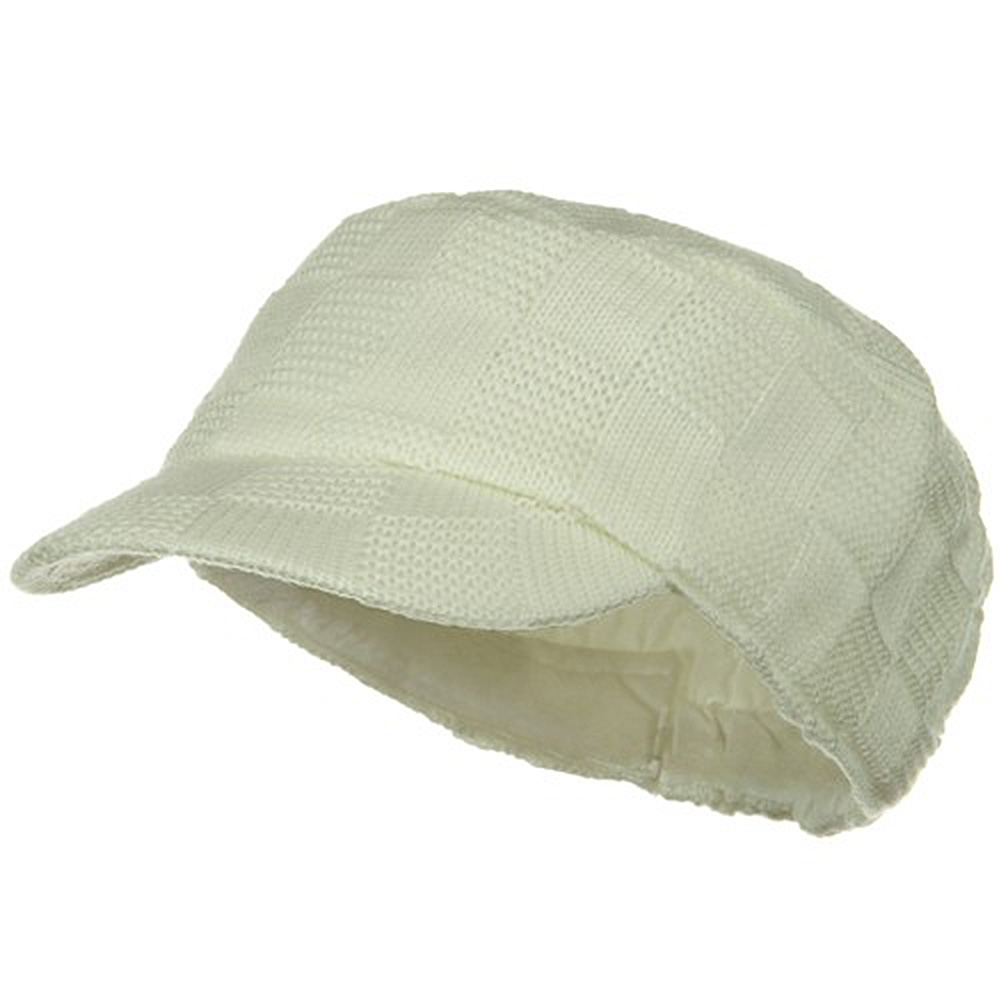 Checker Knitted Military Cap - Ivory - Hats and Caps Online Shop - Hip Head Gear