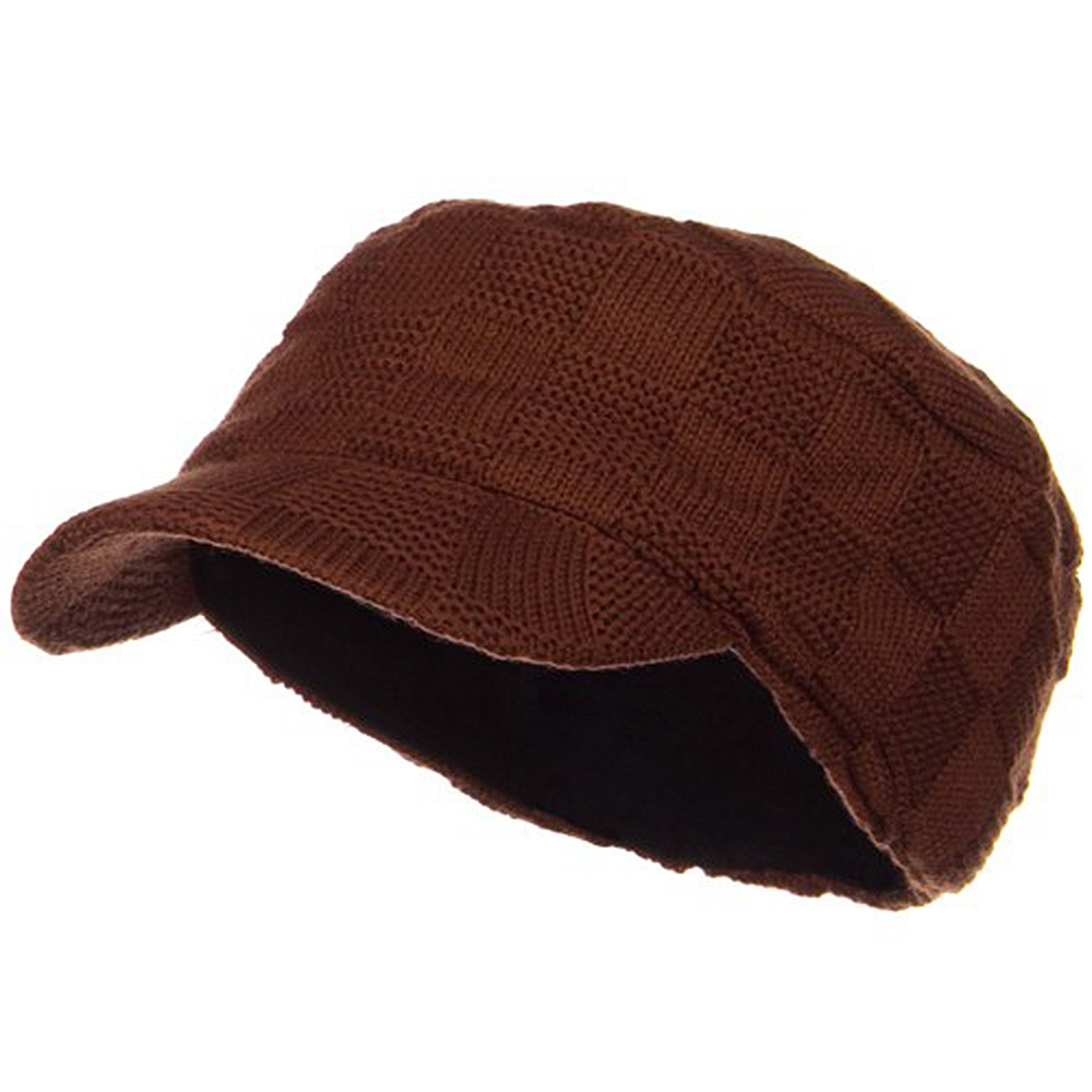 Checker Knitted Military Cap - Rust - Hats and Caps Online Shop - Hip Head Gear