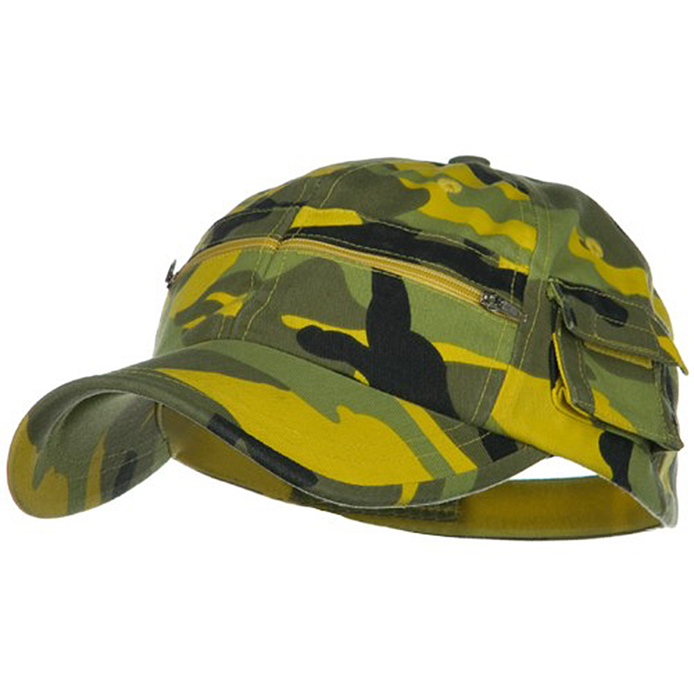 Casual Style Camo Washed Pocket Cap - Light Yellow - Hats and Caps Online Shop - Hip Head Gear