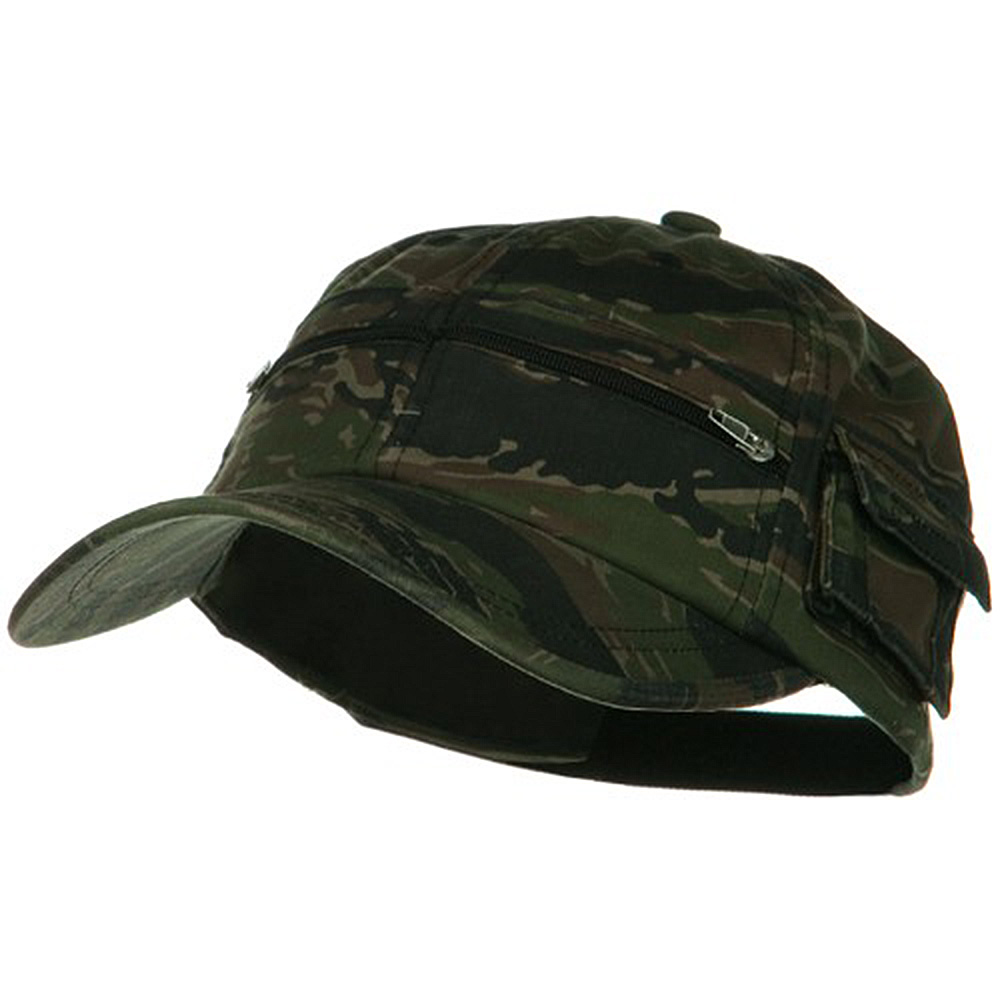 Casual Style Camo Washed Pocket Cap - Tiger - Hats and Caps Online Shop - Hip Head Gear