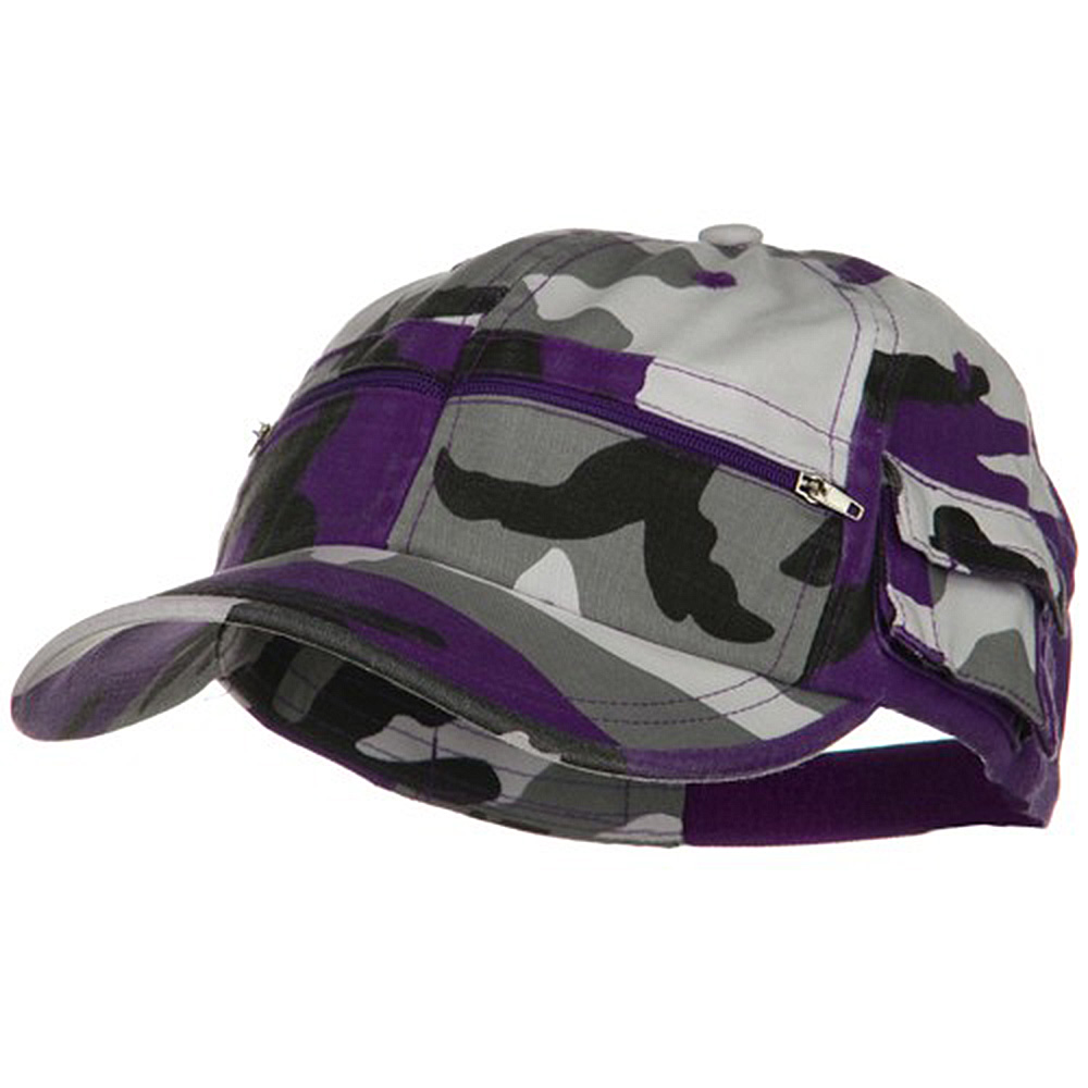 Casual Style Camo Washed Pocket Cap - Lilac - Hats and Caps Online Shop - Hip Head Gear