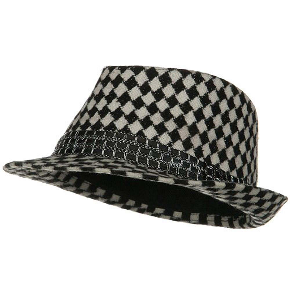 Check Pattern Winter Fedora - Black White - Hats and Caps Online Shop - Hip Head Gear