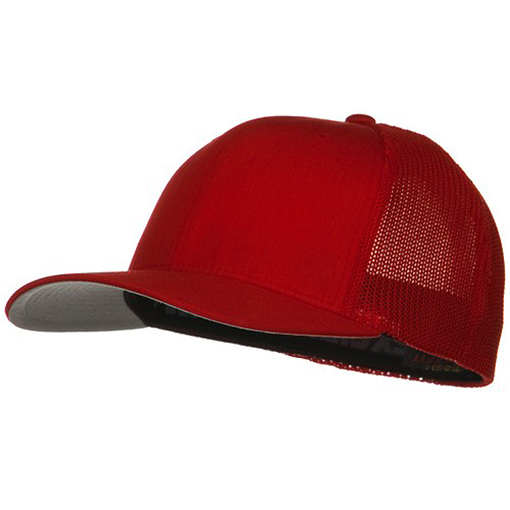 6 Panel Trucker Flexfit Cap - Red - Hats and Caps Online Shop - Hip Head Gear