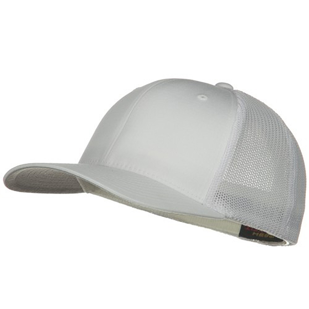 6 Panel Trucker Flexfit Cap - White - Hats and Caps Online Shop - Hip Head Gear