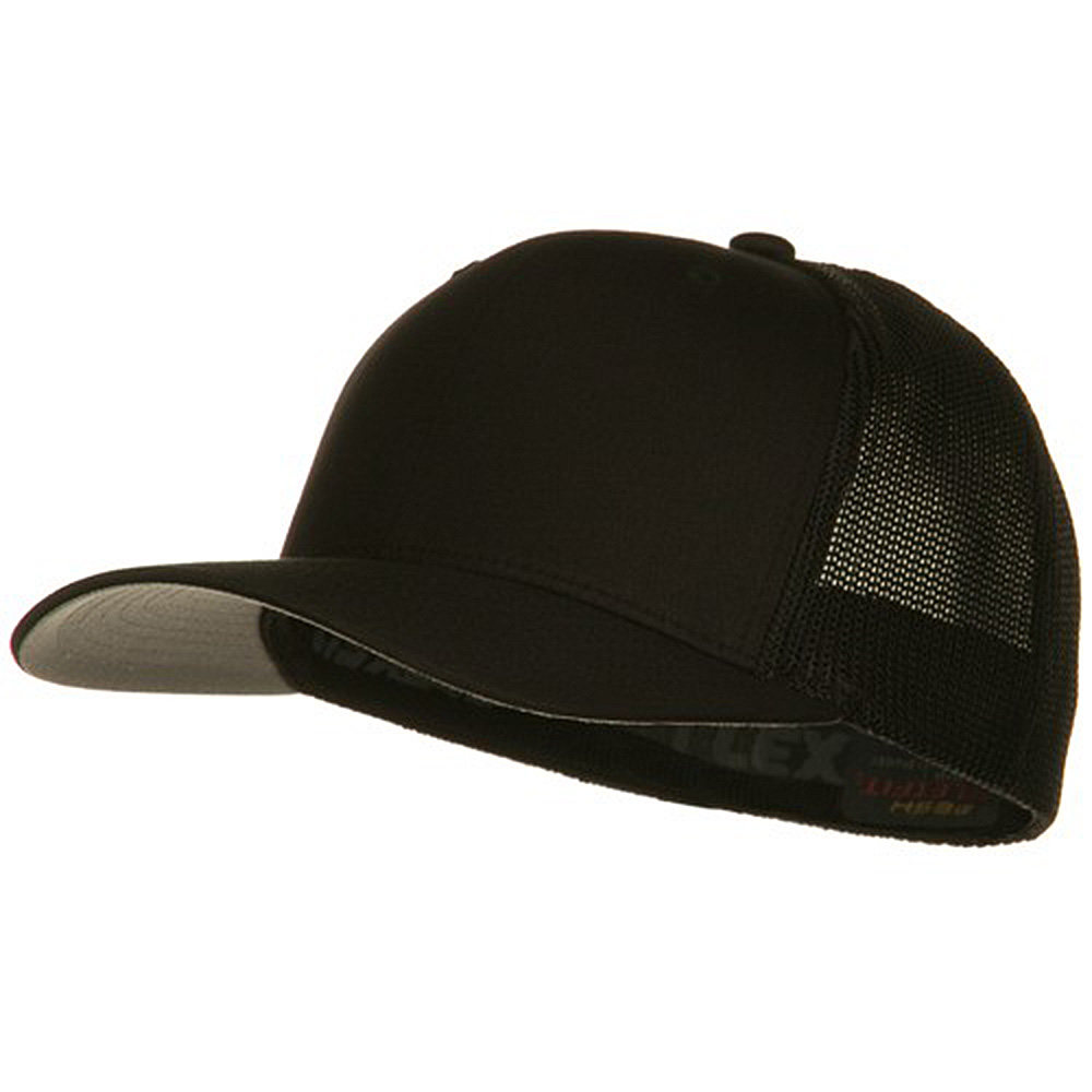 6 Panel Trucker Flexfit Cap - Black - Hats and Caps Online Shop - Hip Head Gear