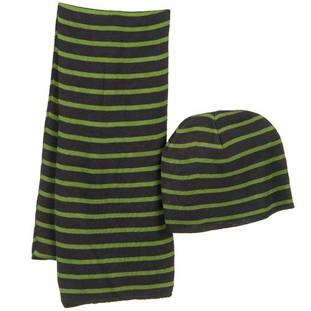 Striped Two Tone Beanie and Scarf Set - Lime