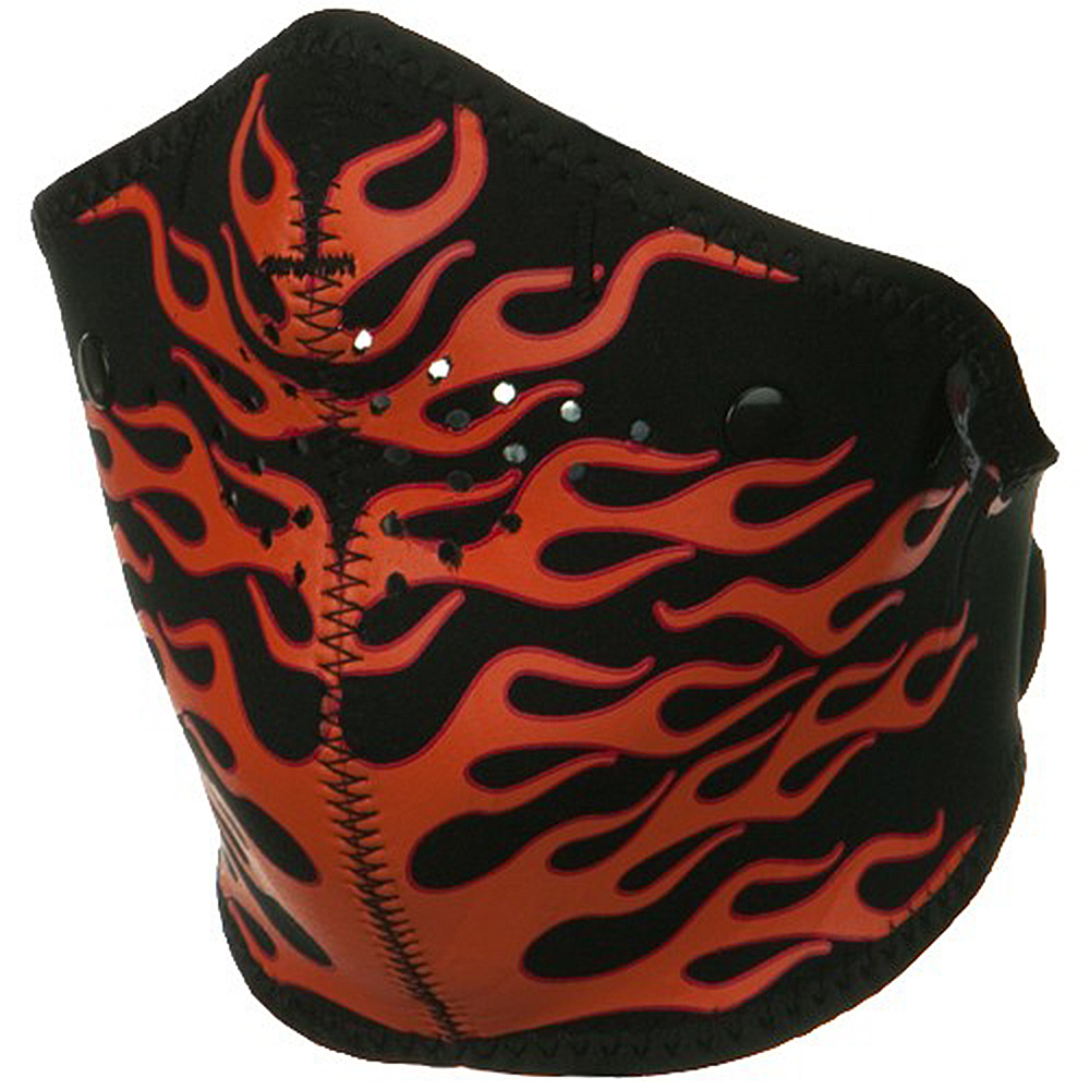 Neo-X Half Face Mask - Orange Flames - Hats and Caps Online Shop - Hip Head Gear