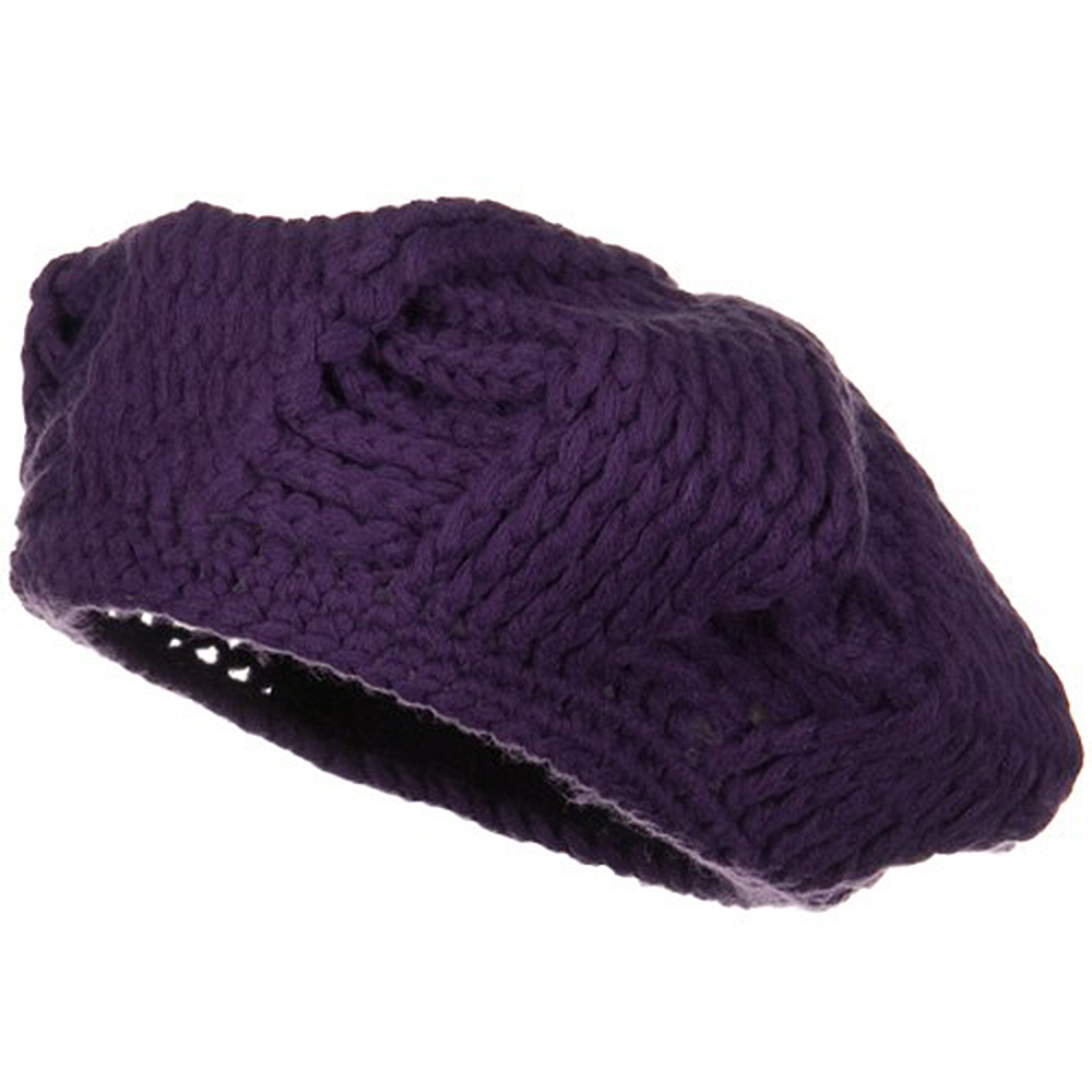 Hand Made Knit Beret - Plum