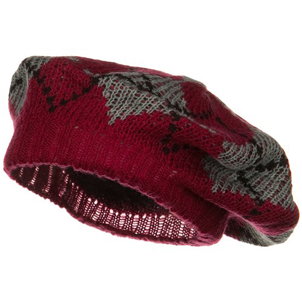 Argyle Knit Beret - Red - Hats and Caps Online Shop - Hip Head Gear
