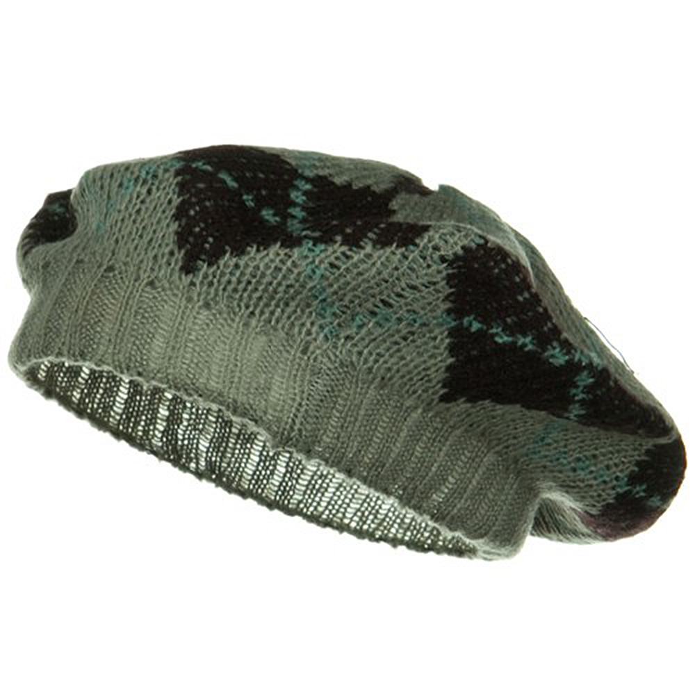 Argyle Knit Beret - Brown - Hats and Caps Online Shop - Hip Head Gear