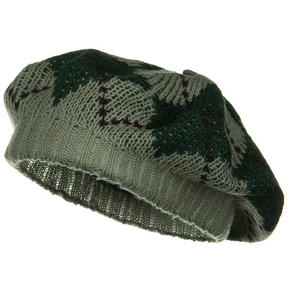 Argyle Knit Beret - Green - Hats and Caps Online Shop - Hip Head Gear