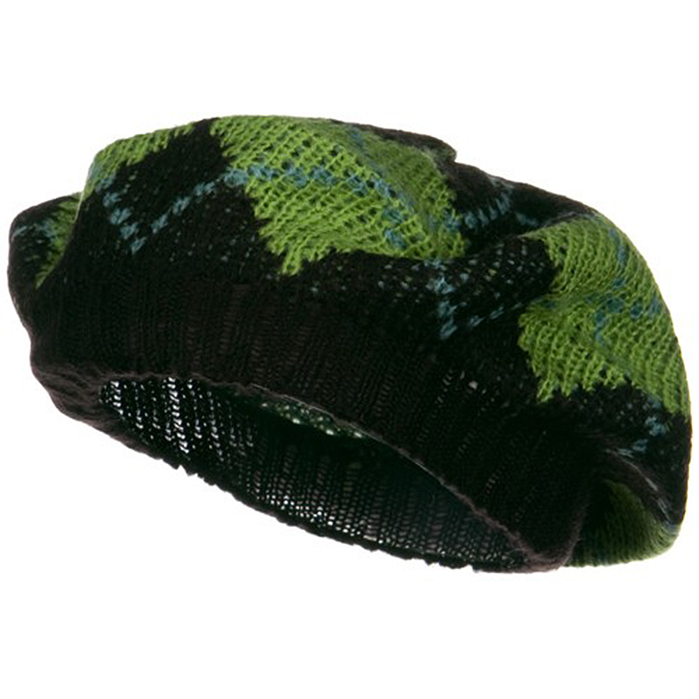 Argyle Knit Beret - Lime - Hats and Caps Online Shop - Hip Head Gear