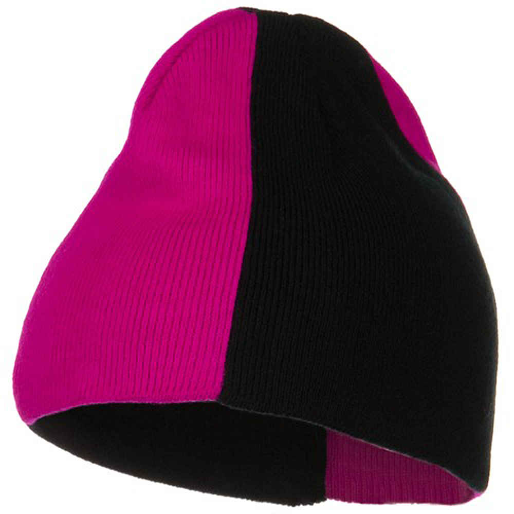 Neon Panels Knit Beanie - Black Pink - Hats and Caps Online Shop - Hip Head Gear