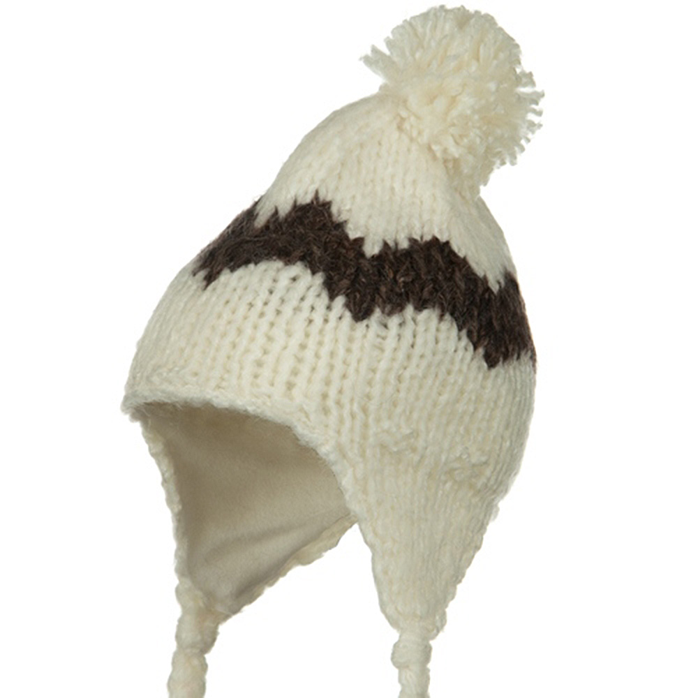 Zig Zag Knit Peruvian Beanie - Ivory - Hats and Caps Online Shop - Hip Head Gear