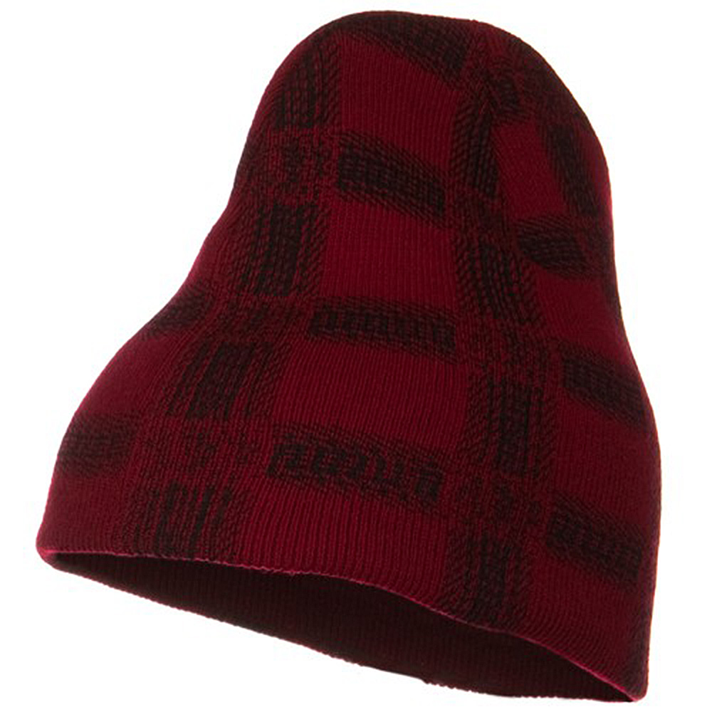 Modern Plaid Print Beanie - Red - Hats and Caps Online Shop - Hip Head Gear