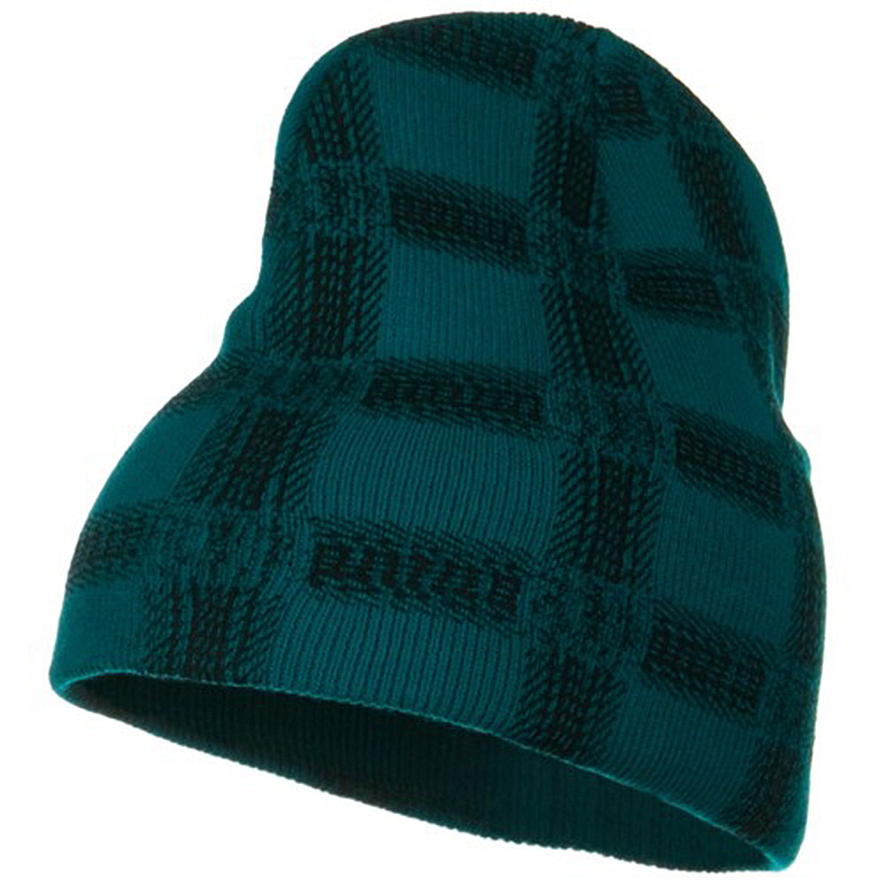 Modern Plaid Print Beanie - Teal - Hats and Caps Online Shop - Hip Head Gear