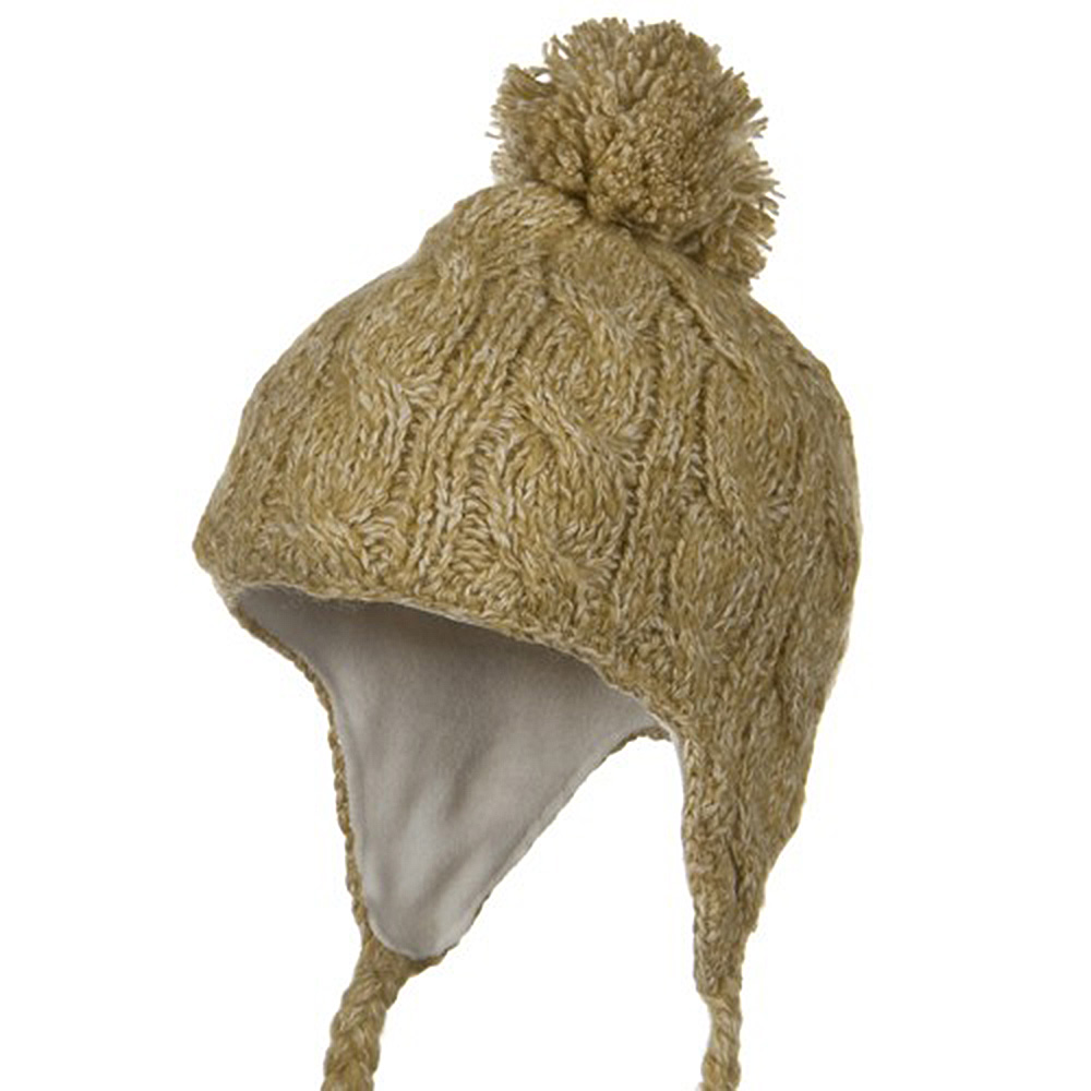 Tweed Cable Knit Peruvian Beanie - Camel - Hats and Caps Online Shop - Hip Head Gear