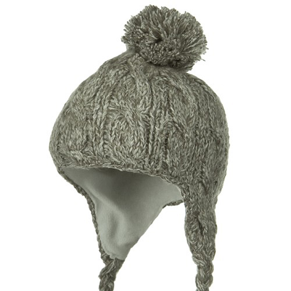 Tweed Cable Knit Peruvian Beanie - Mushroom - Hats and Caps Online Shop - Hip Head Gear