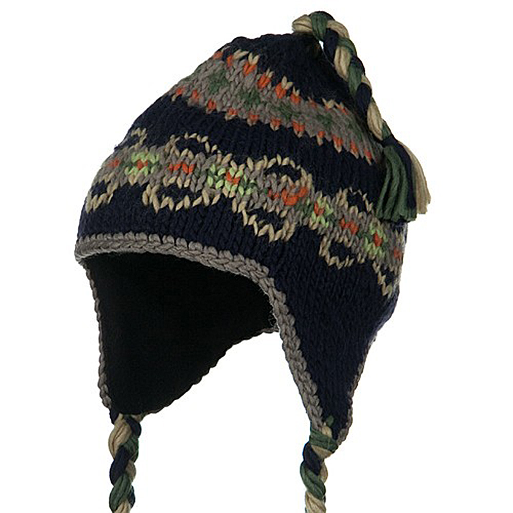 Kids Pattern Peruvian Beanie - Navy - Hats and Caps Online Shop - Hip Head Gear