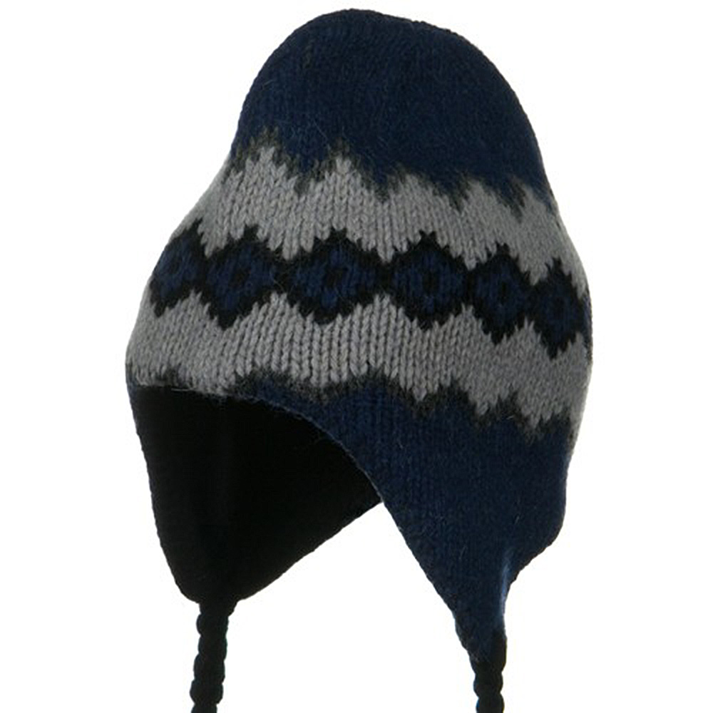 Patterned Ragg Wool Peruvian Beanie - Blueberry - Hats and Caps Online Shop - Hip Head Gear