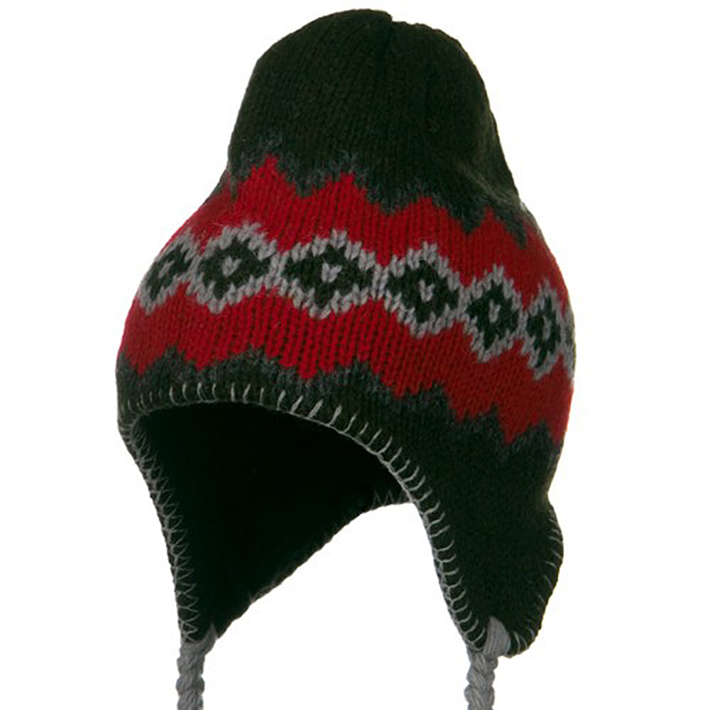 Patterned Ragg Wool Peruvian Beanie - Olive - Hats and Caps Online Shop - Hip Head Gear