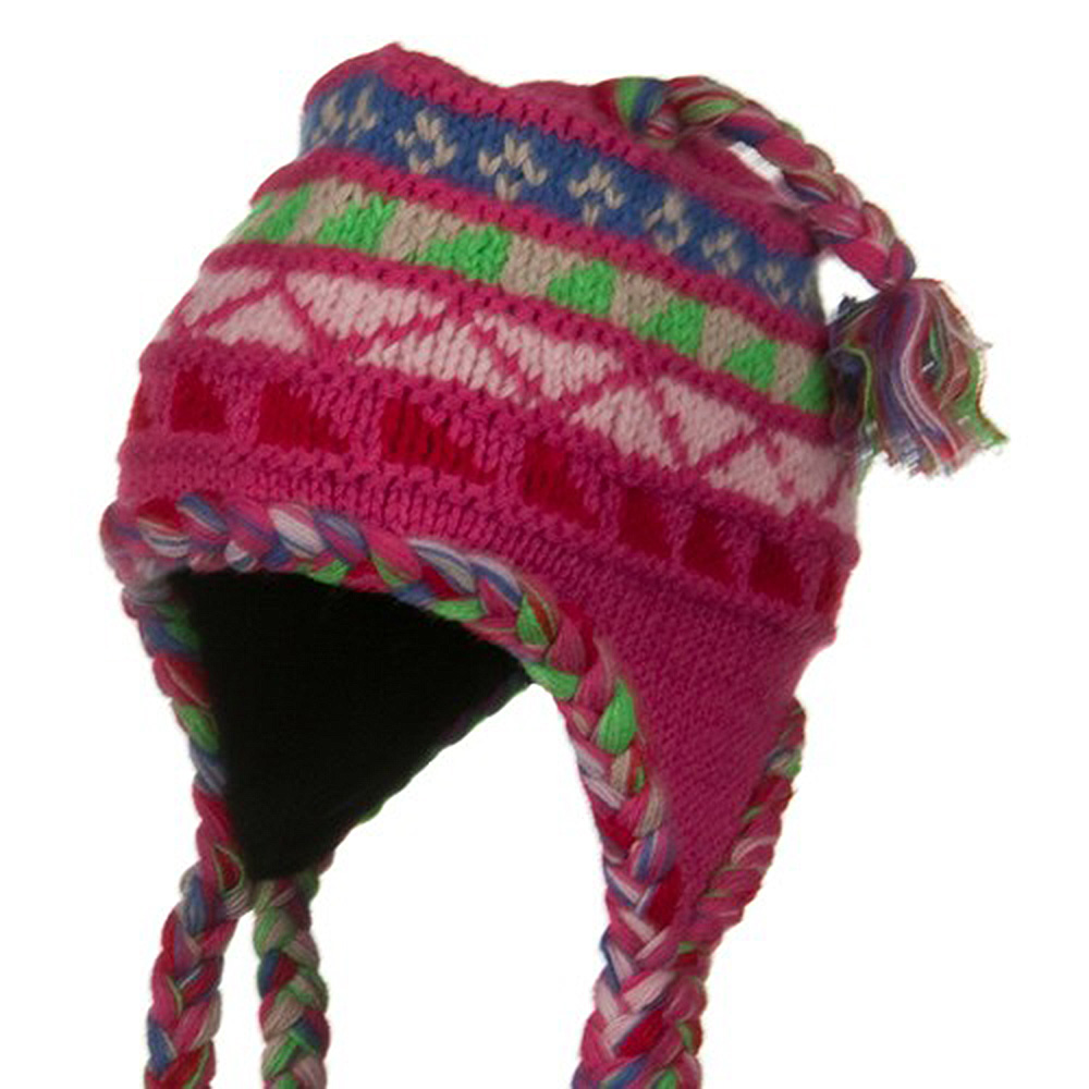 Multi Color Peruvian Ski Beanie - Fuchsia Pink - Hats and Caps Online Shop - Hip Head Gear