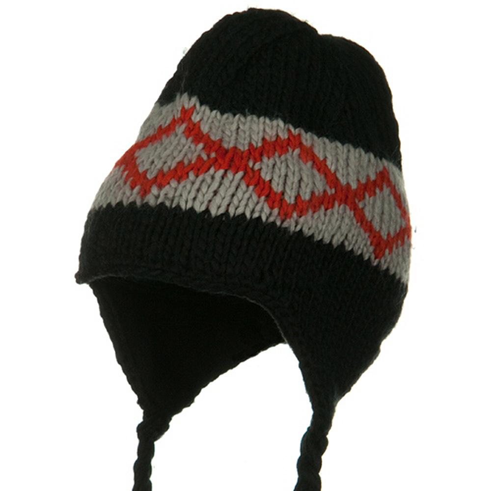 Kids Zig Zag Peruvian Beanie - Black - Hats and Caps Online Shop - Hip Head Gear